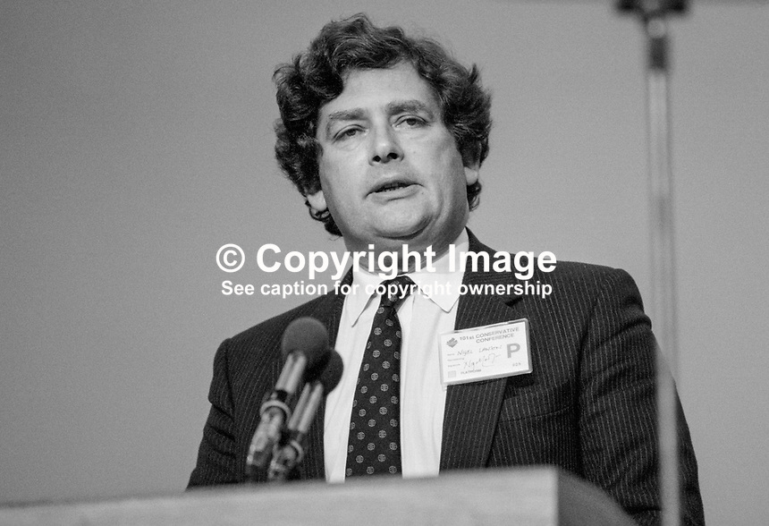 Nigel Lawson, MP, Chancellor of the Exchequer, Conservative Party, UK, on platform during his party's 1984 annual conference, Brighton, the year the adjacent Grand Hotel, was bombed by the Provisional IRA. The Grand Hotel was where most cabinet members and senior party officials were staying. 19840139NL2..Copyright Image from Victor Patterson, 54 Dorchester Park, Belfast, UK, BT9 6RJ..Tel: +44 28 9066 1296.Mob: +44 7802 353836.Voicemail +44 20 8816 7153.Skype: victorpattersonbelfast.Email: victorpatterson@me.com.Email: victorpatterson@ireland.com (back-up)..IMPORTANT: If you wish to use this image or any other of my images please go to www.victorpatterson.com and click on the Terms & Conditions. Then contact me by email or phone with the reference number(s) of the image(s) concerned.
