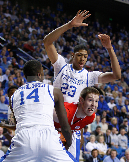 Michael Kidd-Gilchrist and Anthony Davis guard a Marist player at Rupp Arena, in Lexington, Ky., on Friday, Nov. 11, 2011. Photo by Latara Appleby | Staff ..