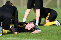 20190226 - LARNACA , CYPRUS :  Belgian Laura Deloose (r) pictured during a Matchday -1 training from The Belgian Red Flames prior to their game against the women team of Slovakia , on Tuesday 26 February 2019 at the Alpha Sports Grounds in Larnaca , Cyprus . This will be the first game in group C for Belgium during the Cyprus Womens Cup 2019 , a prestigious women soccer tournament as a preparation on the European Championship 2021 qualification duels. PHOTO SPORTPIX.BE | DAVID CATRY