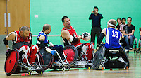 15 AUG 2011 - LEEDS, GBR - Canada's Mike Whitehead (centre) prepares to pass during the wheelchair rugby exhibition match against Great Britain (PHOTO (C) NIGEL FARROW)