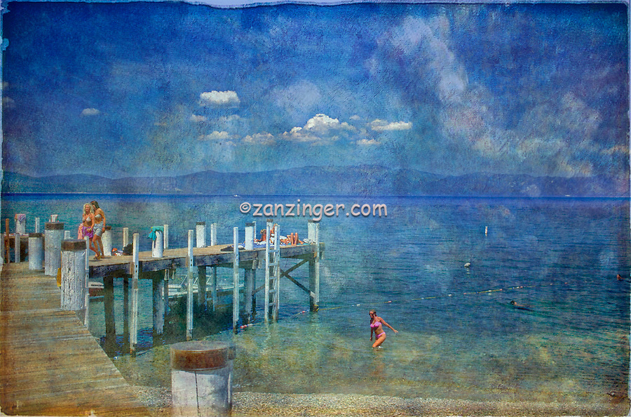 Lake Dock Pier Landing, Digital oil painted texture,  Beautiful, Unique