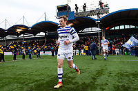 Will Chudley leads the Bath Rugby team out onto the field. Gallagher Premiership match, between Worcester Warriors and Bath Rugby on January 5, 2019 at Sixways Stadium in Worcester, England. Photo by: Patrick Khachfe / Onside Images