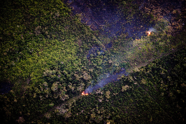 Burning breaches dividing up the Mayan Biosphere for wealthy land owners.