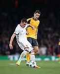 Arsenal's Granit Xhaka tussles with brother Taulant Xhaka of Basel during the Champions League group A match at the Emirates Stadium, London. Picture date September 28th, 2016 Pic David Klein/Sportimage