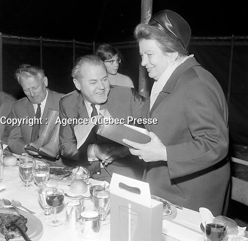 Czechoslovak President Antonin Novotny in Quebec city, Canada, May 18, 1966.<br /> <br /> PHOTO :  Agence Quebec Presse - Photo Moderne