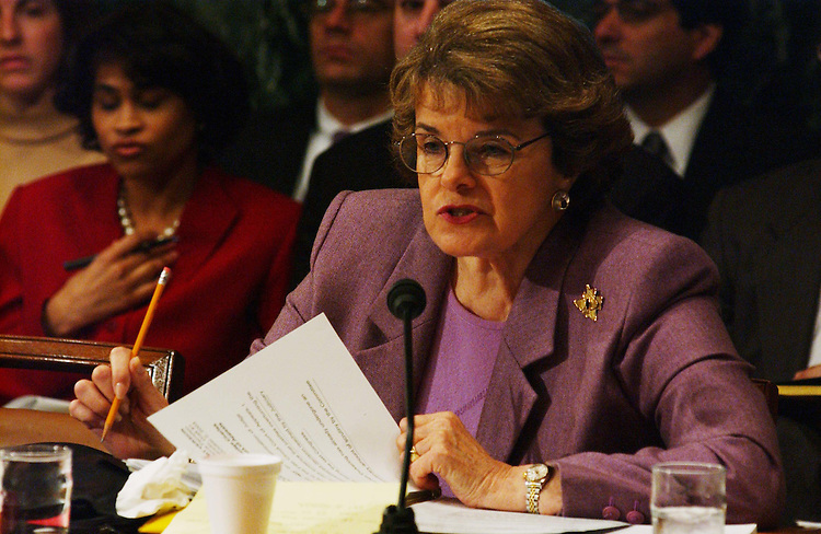10/2/03.PICKERING NOMINATION--Sen. Dianne Feinstein, D-Calif., during the Senate Judiciary business meeting to consider the nomination of Charles W. Pickering Sr. to be U.S. Circuit judge for the 5th Circuit. The committee endorsed the nomination with a 10-9 party-line vote, setting the stage for yet another Democrat filibuster over President Bush's judicial selections..CONGRESSIONAL QUARTERLY PHOTO BY SCOTT J. FERRELL