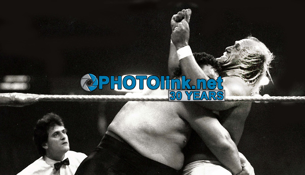 Hulk Hogan, Andre the Giant 1987<br /> Photo By John Barrett-PHOTOlink.net