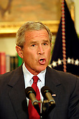 Washington, D.C. - September 4, 2005 -- United States President George W. Bush makes a statement in the Roosevelt Room of the White House following the death of the Chief Justice of the United States Supreme Court William Hubbs Rehnquist, September 4, 2005.<br /> Credit: Martin H. Simon - Pool via CNP