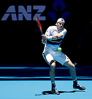 3rd January 2020; RAC Arena, Perth, Western Australia; ATP Cup Australia, Perth, Day 1,; USA v Norway John Isner of the USA plays a backhand shot from the baseline against Christian Ruud Captain of Norway - Editorial Use