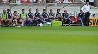 FUSSBALL   1. BUNDESLIGA  SAISON 2011/2012   1. Spieltag     06.08.2011 VfB Stuttgart - FC Schalke 04               Trainer Ralf Rangnick (re, FC Schalke 04) enttaeuscht an der Bank