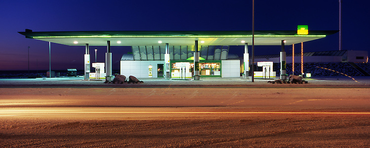 Gas station in Reykjavik Iceland.  Panorama images taken with Hasselblad Xpan camera and Fuji Velvia film.