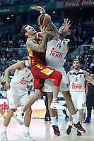 Real Madrid's Gustavo Ayon (r) and Galatasaray Odeabank Istambul's  Vladimir Micov during Euroleague, Regular Season, Round 5 match. November 3, 2016. (ALTERPHOTOS/Acero) /NORTEPHOTO:COM