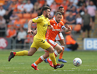 Fleetwood Town's Lewis Coyle and Blackpool's Jay Spearing<br /> <br /> Photographer Stephen White/CameraSport<br /> <br /> The EFL Sky Bet League One - Blackpool v Fleetwood Town - Monday 22nd April 2019 - Bloomfield Road - Blackpool<br /> <br /> World Copyright © 2019 CameraSport. All rights reserved. 43 Linden Ave. Countesthorpe. Leicester. England. LE8 5PG - Tel: +44 (0) 116 277 4147 - admin@camerasport.com - www.camerasport.com