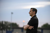 Kansas City, MO - Saturday May 07, 2016: FC Kansas City head coach Vlatko Andonovski watches against the Houston Dash during a regular season National Women's Soccer League (NWSL) match at Swope Soccer Village. Houston won 2-1.