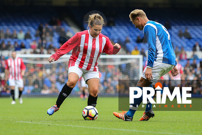 Sam Bailey looks to beat Jeff Brazier during the BRADLEY LOWERY CHARITY MATCH at Goodison Park, Liverpool, England on 3 September 2017. Photo by David Horn/PRiME Media Images.