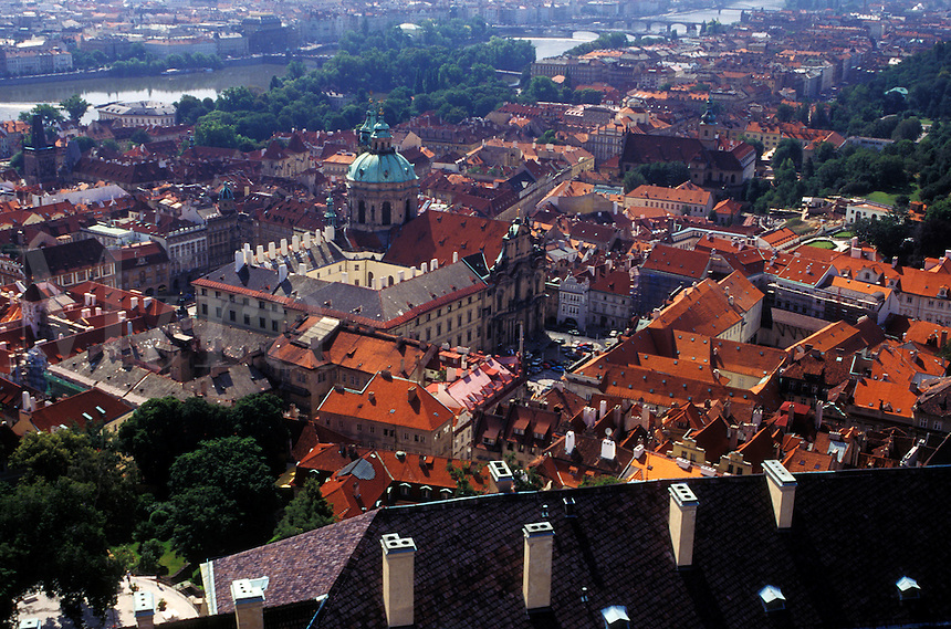 aerial, Prague, Czech Republic, Praha, Central Bohemia, Europe, Aerial view of the city of Prague from Prague Castle.