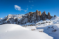Italy, South Tyrol (Trentino - Alto Adige), Dolomites, near Selva di Val Gardena: winter scene with Sella Group mountains at Sella Pass Road | Italien, Suedtirol (Trentino - Alto Adige), oberhalb von Wolkenstein in Groeden: Winterlandschaft vor der Sella Gruppe an der Sella-Joch-Passstrasse