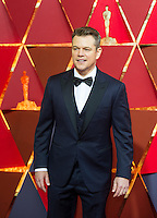 www.acepixs.com<br /> <br /> February 26 2017, Hollywood CA<br /> <br /> Actor Matt Damon arriving at the 89th Annual Academy Awards at Hollywood &amp; Highland Center on February 26, 2017 in Hollywood, California.<br /> <br /> By Line: Z17/ACE Pictures<br /> <br /> <br /> ACE Pictures Inc<br /> Tel: 6467670430<br /> Email: info@acepixs.com<br /> www.acepixs.com