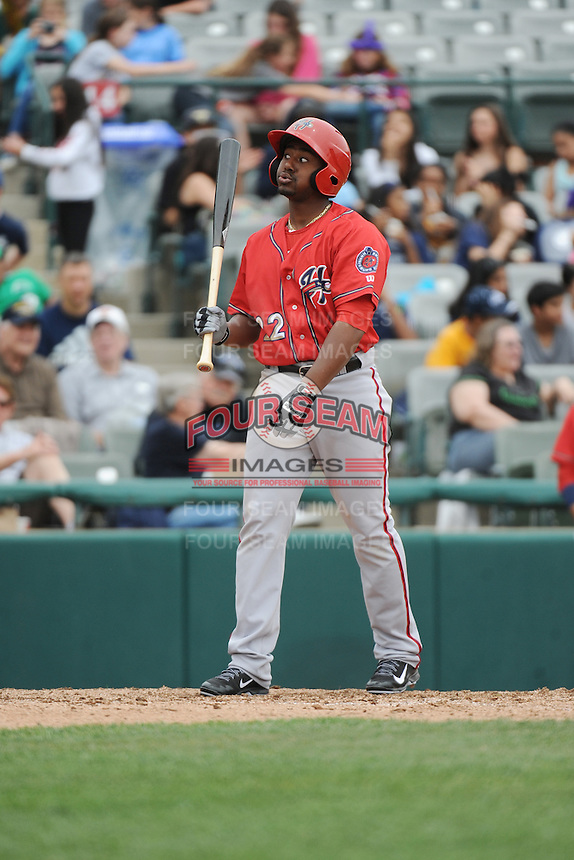 Harrisburg Senators outfielder Quincy Latimore (22) during the game against the Trenton Thunder at ARM & HAMMER Park on May 21, 2014 in Trenton, New Jersey.  Harrisburg defeated Trenton 9-0.  (Tomasso DeRosa/Four Seam Images)