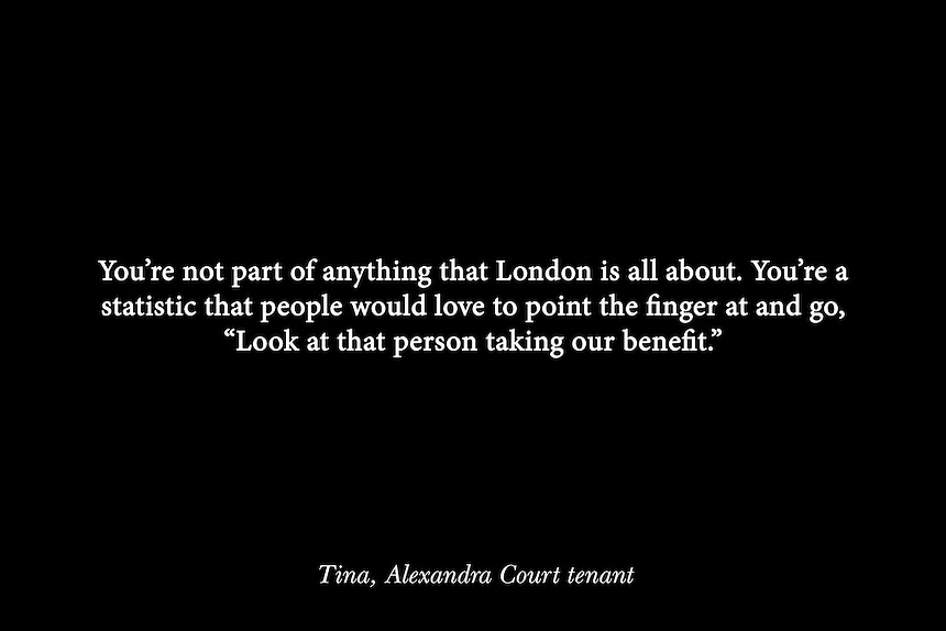 Quote by Tina Ngondo, a tenant of the Alexandra Court Temporary Hostel in Hackney.