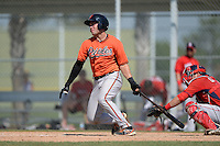 Baltimore Orioles catcher Austin Wynns (48) during a minor league spring training game against the Boston Red Sox on March 18, 2015 at the Buck O'Neil Complex in Sarasota, Florida.  (Mike Janes/Four Seam Images)