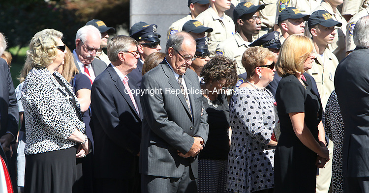 WATERBURY CT. 17 August 2017-081717SV07-Family and friends enter the Basilica of the Immaculate Conception during former Mayor Edward &quot;Mike&quot; D. Bergin Jr. funeral in Waterbury Thursday. <br /> Steven Valenti Republican-American