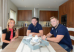 Redrow's Joanne Hammond with Cardiff Blues, Wales and British and Irish Lions player Alex Cuthbert and Cardiff Blues Rhys Williams at the official opening of the site  <br /> <br /> Redrow Homes Official opening of  at Belle View at Mon Bank Newport with Cardiff Blues Players Alex Cuthbert and Rhys Williams - Newport <br /> <br /> &copy; www.sportingwales.com- PLEASE CREDIT IAN COOK