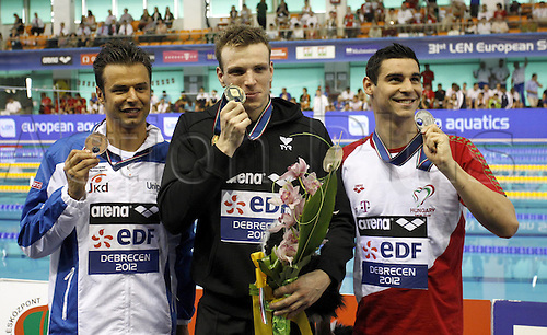 21.05.2012.  Debrecen Hungary. Len European Championships 400m Free style the men Award Ceremony Picture shows Samuel Pizzetti ITA Paul Biedermann ger and Gergo Kis Hun with their Medals