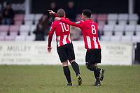 Nathan Livings congratulates goal scorer George Purcell of AFC Hornchurch during AFC Hornchurch vs Haringey Borough, Bostik League Division 1 North Football at Hornchurch Stadium on 10th February 2018