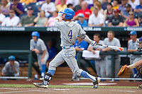 UCLA Bruins outfielder Eric Filia #4 bats during Game 4 of the 2013 Men's College World Series between the LSU Tigers and UCLA Bruins at TD Ameritrade Park on June 16, 2013 in Omaha, Nebraska. The Bruins defeated the Tigers 2-1. (Brace Hemmelgarn/Four Seam Images)