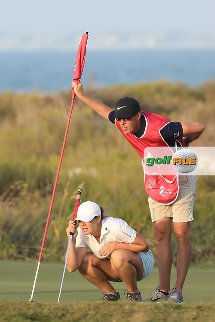 Marianne Skarpnord (NOR) & Richard Green (AUS) during the first round of the Fatima Bint Mubarak Ladies Open played at Saadiyat Beach Golf Club, Abu Dhabi, UAE. 10/01/2019<br /> Picture: Golffile | Phil Inglis<br /> <br /> All photo usage must carry mandatory copyright credit (© Golffile | Phil Inglis)