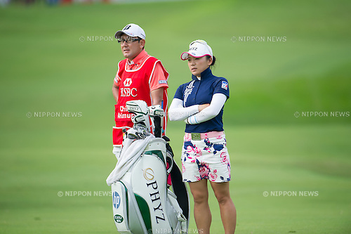 Chie Arimura (JPN),.MARCH 3, 2013 - Golf :.Chie Arimura of Japan with her caddie during the final round of the HSBC Women's Champions at Sentosa Golf Club in Singapore. (Photo by Haruhiko Otsuka/AFLO)
