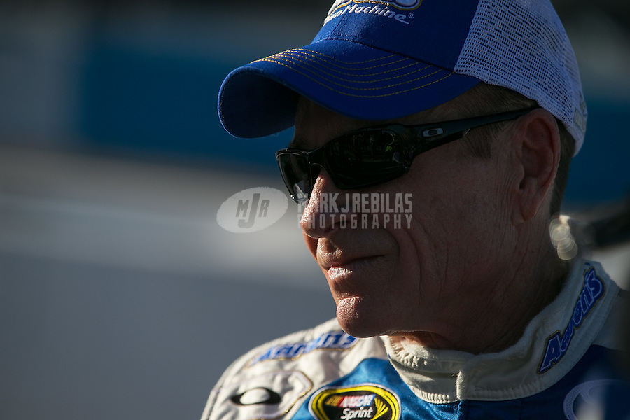 Mar. 1, 2013; Avondale, AZ, USA; NASCAR Sprint Cup Series driver Mark Martin during qualifying for the Subway Fresh Fit 500 at Phoenix International Raceway. Mandatory Credit: Mark J. Rebilas-