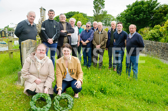 Wreath Laying Ceremony :  Marie Leahy & Claire Mulvihill laying wreaths at the grave of Michael Cullins who saved Paddy Kennelly life at the battle of Messines during World War 1 on Wednesday 7th June on the 100th anniversary of the event at Liselton Graveyard.Back : Jim Finnerty, Garry Mulvihill, John Keane, John Houlihan, David Kissane, John McGrath, Connie Nolan, Brendann Buckley, Tom Dillon & David enright.