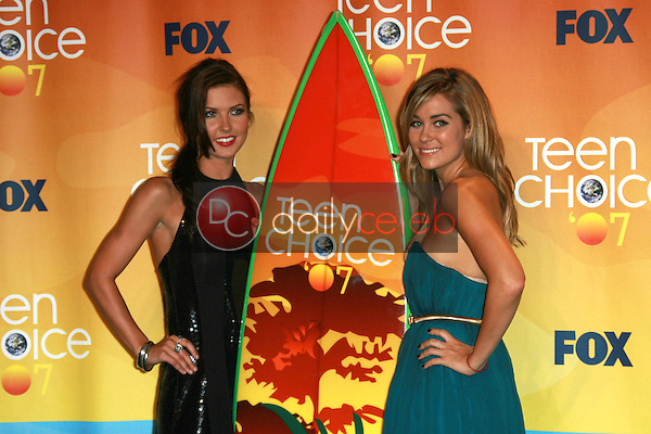 Audrina Patridge and Lauren Conrad<br />in the press room of the 2007 Teen Choice Awards. Gibson Amphitheater, Universal City, CA. 08-26-07<br />Dave Edwards/DailyCeleb.com 818-249-4998