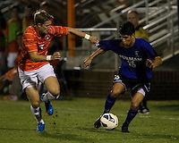 The number 24 ranked Furman Paladins took on the number 20 ranked Clemson Tigers in an inter-conference game at Clemson's Riggs Field.  Furman defeated Clemson 2-1.  Alex Stockinger (7), Marco Ortiz (13)