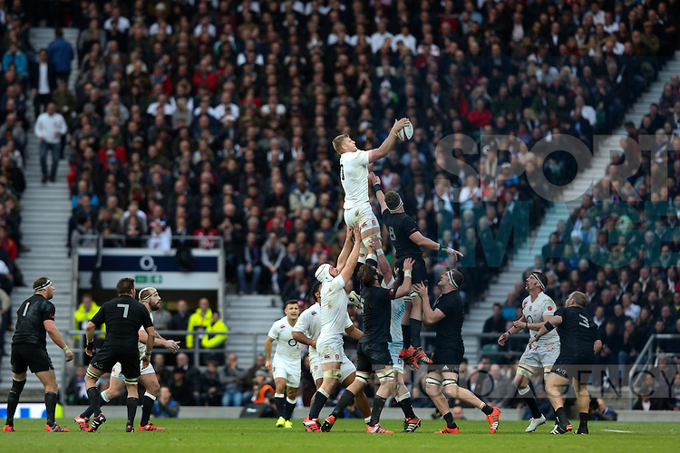 England's George Kruis takes a line out on his debut - QBE Autumn Internationals - England vs New Zealand - Twickenham Stadium - London - 08/11/2014 - Pic Charlie Forgham-Bailey/Sportimage