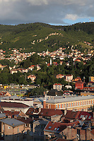 View over the South East of the city of Sarajevo, capital of Bosnia and Herzegovina. Founded by the Ottomans in 1461, the city sits in the Sarajevo Valley surrounded by the Dinaric Alps. Picture by Manuel Cohen