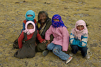 A NOMADIC FAMILY, at 4800 meters near Namtso Lake the highest saltwater lake in Tibet