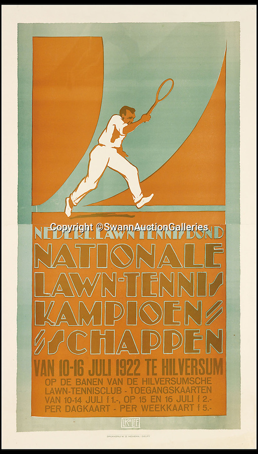 BNPS.co.uk (01202 558833)<br /> Pic: SwannAuctionGalleries/BNPS<br /> <br /> ***Please Use Full Byline***<br /> <br /> Nationale Lawn-Tennis Kampionschappen (1922), by, Louis C. Kalff, estimated at $5,000-$7,500.<br /> <br /> <br /> The world's largest collection of vintage tennis posters spanning a century of the sport has emerged for sale for a staggering 100,000 pounds.<br /> <br /> The posters date from the late 19th century and advertise everything from famous tennis tournaments to luxury holiday destinations and even cars.<br /> <br /> The earliest poster in the collection comes from 1896 and advertises the Western Lawn Tennis Tournament at the Kenwood Country Club in Chicago.<br /> <br /> The collection was compiled by an Australian poster enthusiast over several decades and is thought to be the largest ever to come to auction.<br /> <br /> The posters will be sold individually for prices ranging between 150 pounds to 12,000 pounds and are collectively tipped to fetch a whopping 100,000 pounds in the Swann Auction Galleries sale.