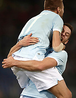 Calcio, Serie A: Roma, stadio Olimpico, 20 settembre 2017.<br /> Lazio's Stefan De Vrij (r) celebrates after scoring with his teammate Ciro Immobile (l) during the Italian Serie A football match between Lazio and Napoli at Rome's Olympic stadium, September 20, 2017.<br /> UPDATE IMAGES PRESS/Isabella Bonotto