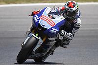 14.06.2013 Barcelona, Spain. Gran Premi Aperol de Catalunya. Free practice 2. Picture show Jorge Lorenzo ridding Yamahai at Circuit de Catalunya