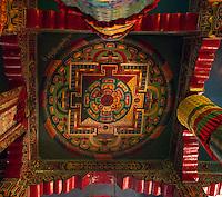 Decorative ceiling square, Monastery in Sikkim, India