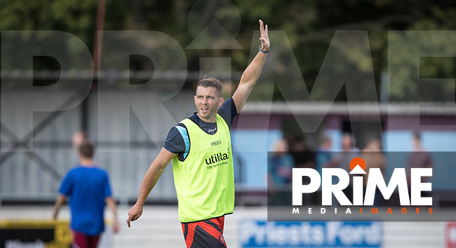 Matt Bloomfield of Wycombe Wanderers pre match during the 2018/19 Pre Season Friendly match between Chesham United and Wycombe Wanderers at the Meadow , Chesham, England on 24 July 2018. Photo by Andy Rowland.