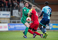 Goalkeeper Sam Sargeant & Jens Janse of Leyton Orient collide allowing Myles Weston of Wycombe Wanderers in to score his goal during the Sky Bet League 2 match between Leyton Orient and Wycombe Wanderers at the Matchroom Stadium, London, England on 1 April 2017. Photo by Andy Rowland.