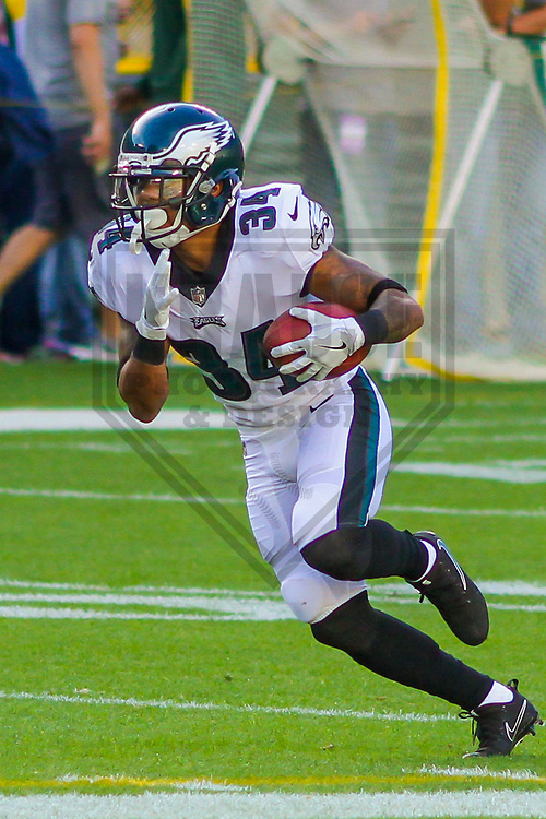 Philadelphia Eagles running back Donnel Pumphrey (34) during a preseason football game against the Green Bay Packers on August 10, 2017 at Lambeau Field in Green Bay, Wisconsin. Green Bay defeated Philadelphia 24-9.  (Brad Krause/Krause Sports Photography)