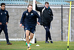 St Johnstone Training….Manager Tommy Wright watches striker David McMillan during training at McDiarmid Park ahead of Sundays game against Celtic.<br />