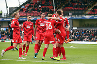 O's 2nd goalscorer Josh Coulson celebrates with team mates during Grimsby Town vs Leyton Orient, Sky Bet EFL League 2 Football at Blundell Park on 19th October 2019