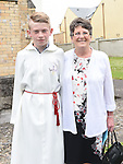 Luke McCann who was Confirmed in the Sacred Heart Church Laytown pictured with grandmother Breda Kennedy. Photo:Colin Bell/pressphotos.ie