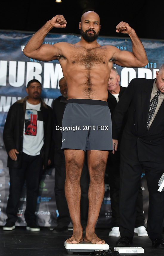 BROOKLYN - JANUARY 25: Boxer Gerald Washington at the weigh-in for the January 26 PBC on FOX fight card at Barclays Arena on January 25, 2019, in Brooklyn, New York. (Photo by Frank Micelotta/Fox Sports/PictureGroup)